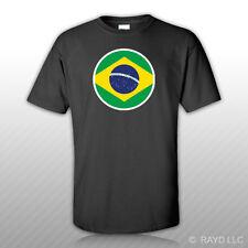 Round Brazilian Flag T-Shirt Tee Shirt Free Sticker Brazil BRA BA