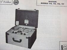 Ekotape 114, 115, 116, 117 Tape Recorder Photofact