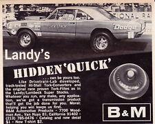 1969 DODGE HEMI DART / DICK LANDY PRO STOCK DRAG RACING ~ ORIG SMALLER B&M AD