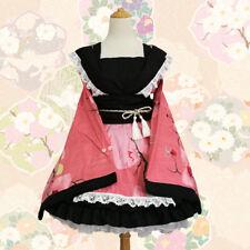 Hellgirl Cosplay Kostuem Costume Kimono Japan Rosa Pink Weiß Lolita wafuu Maid