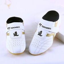 Kids Men PU Taekwondo Shoes Martial Arts Chinese Kung Fu Tai Chi White Soft New