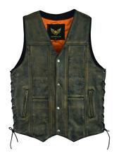 10 Pocket Vintage Distressed Brown Motorcycle Biker Leather Vest