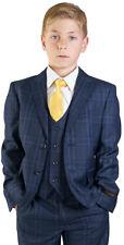 Boys Navy Suit Tuxedo 5 Piece Set Windowpane Peak Lapel Vest Kids Formal 35071