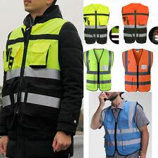 Unisex Multi Pocket High-Vis Overall Jacket Reflective Strip Traffic Safety Vest