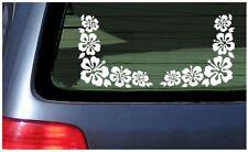 Hibiscus Flower Corner Pair Set Lei Window Stickers Vinyl Decal Hawaii Aloha Car