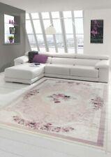 Tapis fleurs salon tapis lavable en rose crème