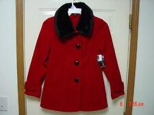 NWT Womens Classy Elegant Red Coat Faux Fur Trim Collar Dressy NEW