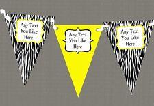 Zebra Print & Yellow Personalised Birthday Party Bunting