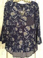 Medium/Large/XL/ New Blue White Floral Print Top Tunic Blouse Shirt Polka Dots