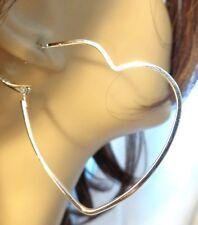 OPEN HEART HOOP EARRINGS GOLD OR SILVER TONE SIMPLE THIN HEART HOOPS 2.25 INCH