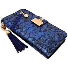 Blue Snake Skin PU Leather Flip Wallet Case Cover Card Holder Tassel for iPhone