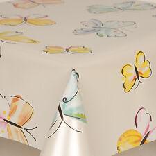 PVC VINYL OIL TABLE CLOTH BUTTERFLIES MULTI WATER COLORS ART PLAIN SILVER SHINY