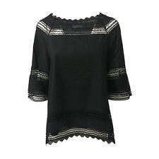 ALPHA STUDIO blusa mujer en negro algodón y encajes manga 3/4 mod AD-8480C 100 %