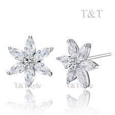 T&T 18K WGP Clear CZ Flower Stud Earrings Large (ED62)