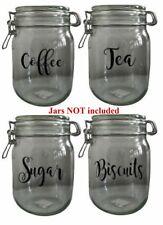 Jar Stickers, Glass Jar Labels - Tea, Coffee, Sugar, Biscuits, Tin/Canister/Jar