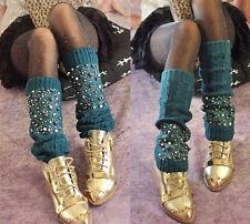 Femme jambière cadeaux tricot chaussettes perles crochet leggings hiver boot toppers