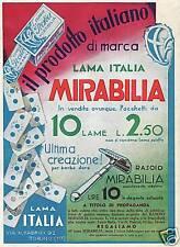 PUBBLICITA'1933 LAMA ITALIA MIRABILIA TORINO LAMETTE DA BARBA RASOIO PARUCCHIERE