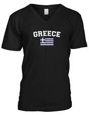 Greece Country Flag Greek Hellas Pride Football Soccer Mens V-neck T-shirt