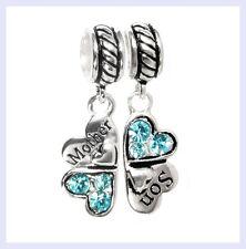 STR Silver Mother Son Love Heart Light Blue CZ Clover f/ European Charm Bracelet