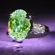 Fashion 925 Silver Emerald Green Topaz Women Ring Wedding Engagement Jewelry Hot