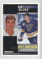 1991-92 Pinnacle French #72 Jeff Brown St. Louis Blues Hockey Card