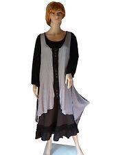 Gr.42/44  46/48 Jersey-Tunika Überwurf Kleid zipflig lang Schwarz/Weiß LAGENLOOK