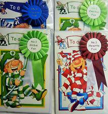 Scottish Football Fan Man Boys Birthday Card & Rosette Rangers, Celtic, Hearts