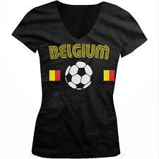Belgium Flag Belgisch Voetbalelftal Soccer Ball Football Juniors V-neck T-shirt