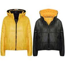 filles vestes enfants moutarde réversible court capuche Matelassé Doudoune