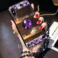 Girls Luxury Bling Rhinestone Mirror Makeup TPU back Case Phone cover For iPhone