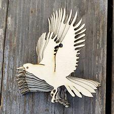 10x Wooden Crow Landing Bird Craft Shapes 3mm Plywood Wildlife Halloween