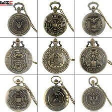 US Army Design Antique Pocket Watch Quartz Pendant Chain Necklace Retro Bronze