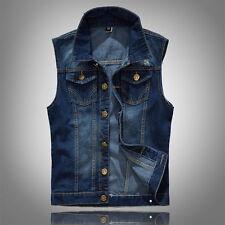 New Men's Retro Jean Vest Cowboy Vests Punk Hole Denim Waistcoats Jacket Slim