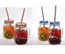 VETRO TRASPARENTE Mason Jar Jams bevande cocktail estate con manico di paglia 450ml 1 Qtà