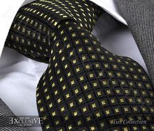 BLACK/YELLOW DOT SILK TIE (& HANKY) - ITALIAN DESIGNER Milano Exclusive