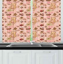"Retro Drawing Kitchen Curtains 2 Panel Set Window Drapes 55"" X 39"" Ambesonne"