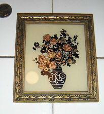 art deco silouhette & colored foil Art Vase & flowers carved wooden frame SWEET