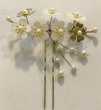 Geisha Girl Hair Stick Comb Fork with Sakura Cherry Blossom Flower and Tassles