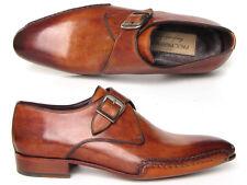 Zapatos de Cuero Paul Parkman Para hombres Trenzado lado Cosida a Mano Monkstrap Suela tabaco (I