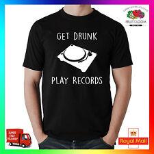 Get Drunk Play Aufzeichnungen Super Premium T-Shirt Lustig Belfast Party DJ
