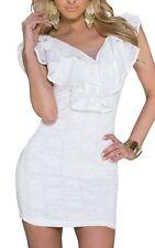 SeXy Miss Damen Spitzen Volant Mini Kleid Pencil Dress 34 S 36 M 38 L weiß NEU