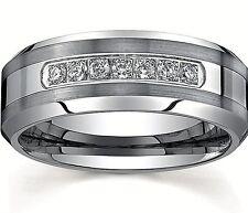 Men's-Tungsten-Carbide Rings-Engagement/Wedding-Ring-7-CZ-Band Ring