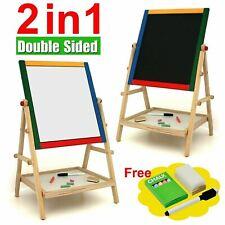 2 in 1 Kids Wooden Easel Blackboard Whiteboard Children Drawing Art Chalk Board