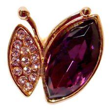 bague plaqué or rose cristal swarovski violettes Papillon violet taille 52 56 60