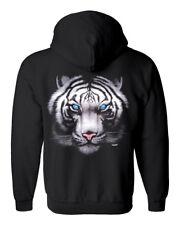 Womens Gildan Full Zip Up Hoodie W White Tiger Blue Eyes Design FREE SHIP