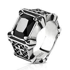 Stainless Steel Ring Black Gem Set and Crosses on Burnished Black Side Size 7-13