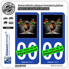 2 Stickers autocollant plaque immatriculation Auto : Lion Reggae
