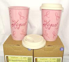 Two 2 Horizon of Hope Pink Travel Cup Mug Hot Cold Longaberger 10 oz New