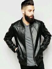 Leather Jacket Mens Black Flight Bomber Pure Lambskin Slim Fit Size S M L XL XXL