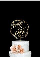 Custom Name Wedding Modern Geometric Cake Topper Mr and Mrs Personalized